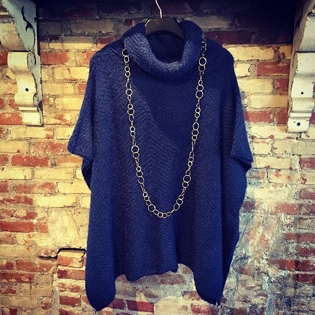 This beautiful blue poncho sweater just joined us, and is a perfect way to stay cozy on a lovely autumn day like today! We are here until 6 for all your style needs, so come say hi and see all the new treasures.  #new #musthave #style #pvd #providence #401 #shopsmall #shoppepioneer #sweater #weather #instagood #love #to #be #cozy