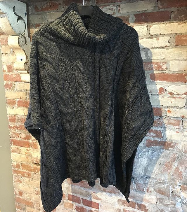 Stay warm on this chilly day with our newest cable knit poncho. All she needs is a hot cup of coffee! Come see for yourself until 6.  #new #musthave #instastyle #shoplocal #providence #rhodeisland #shopsmall #shoppepioneer #shop #sweater #love #warm #style