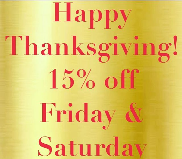 Happy turkey day! Come join us for Black Friday & small business Saturday.
