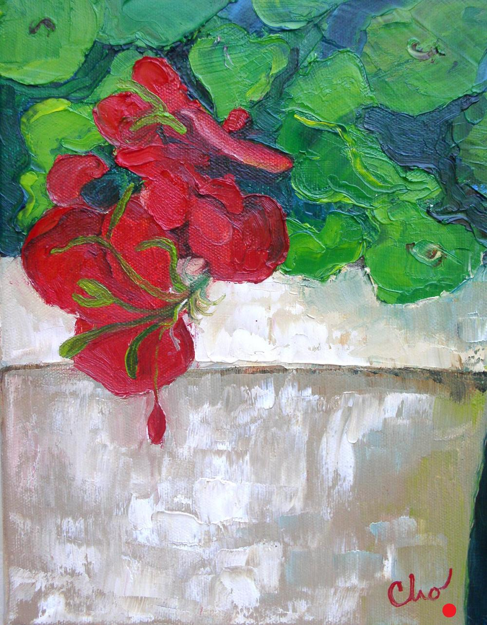 Geraniums in oil--12x9 Sept 2011