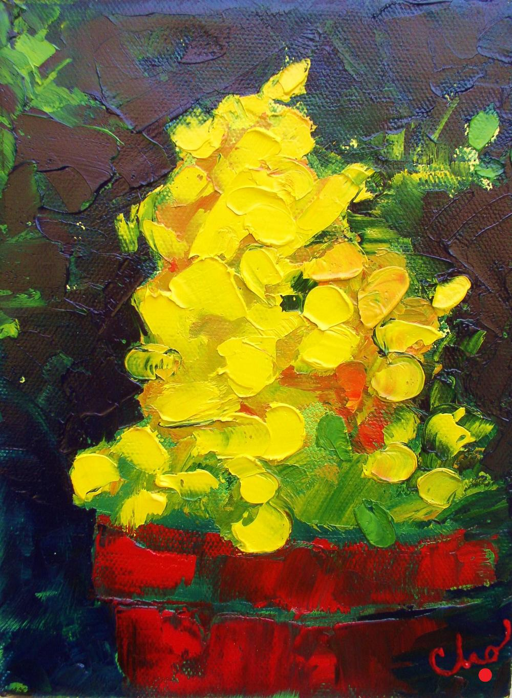 Yellow Flowers in oil--8x6 Sept 2011