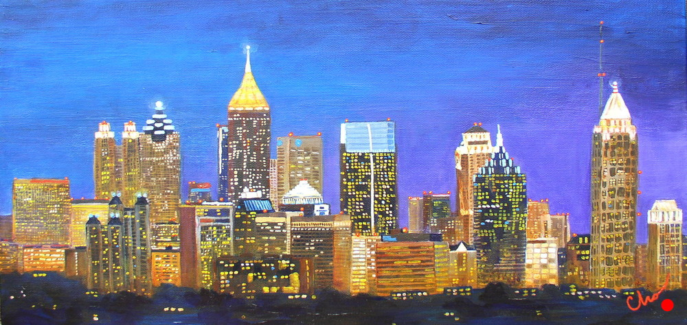 Atlanta Night Skyline 10x20
