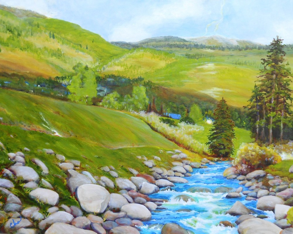 Open Amid the Tumble, Gore Creek, CO--July 2012 22x28-- $400