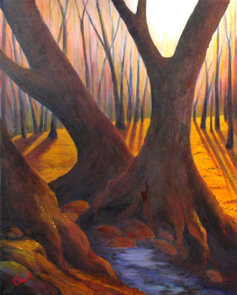 Morning by the Creek (No. 2)--March 2011 30x24-- $300