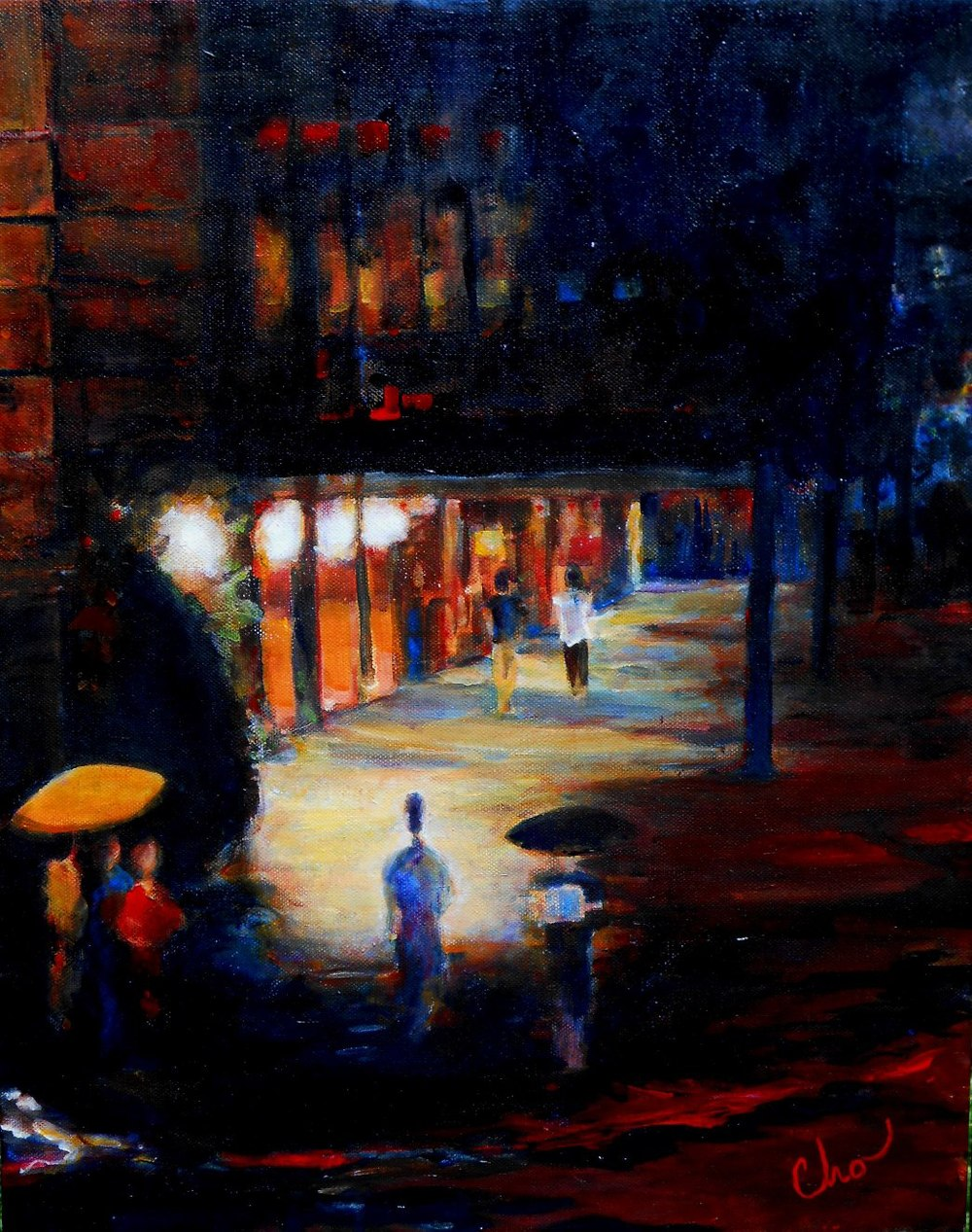 A Corner at Night in NYC 20x16 August 2014