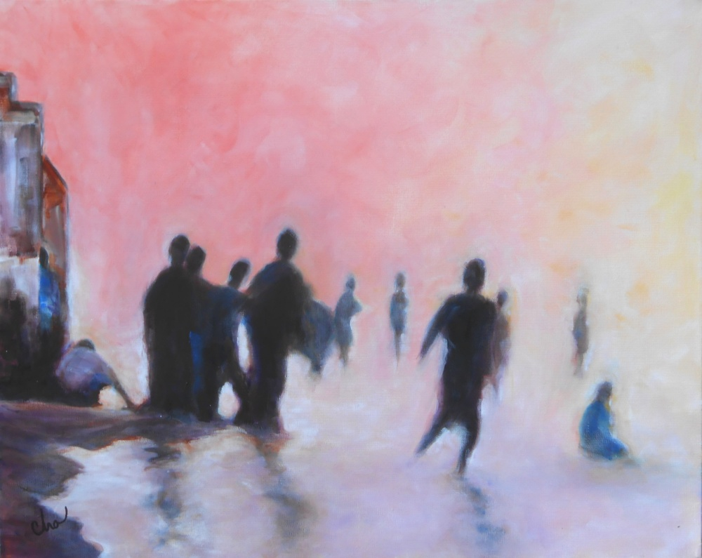 Gathering at Dawn (#2) 24x30 Jan 2014.JPG