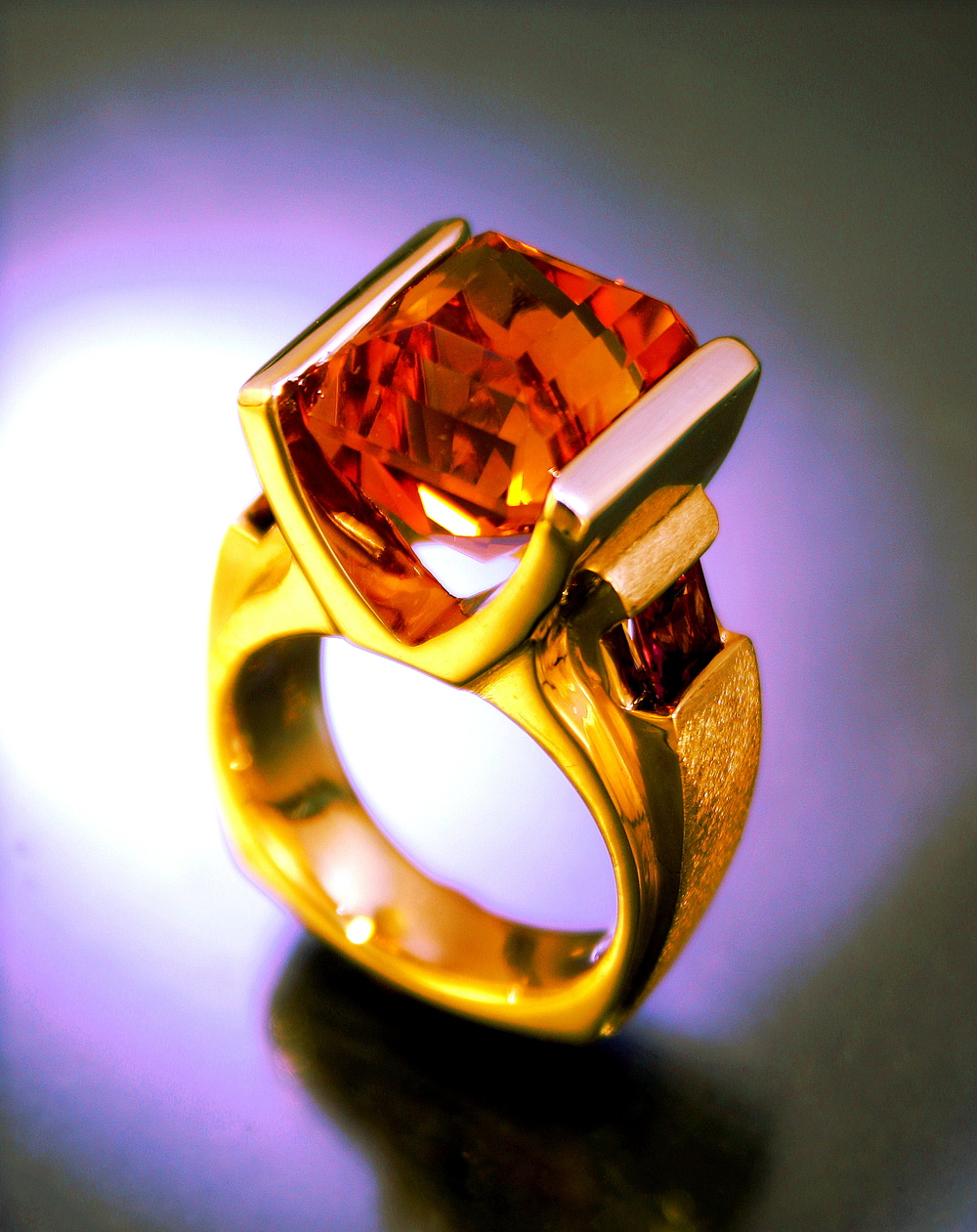 14K White and Yellow Gold with Citrine center and Garnet side stones