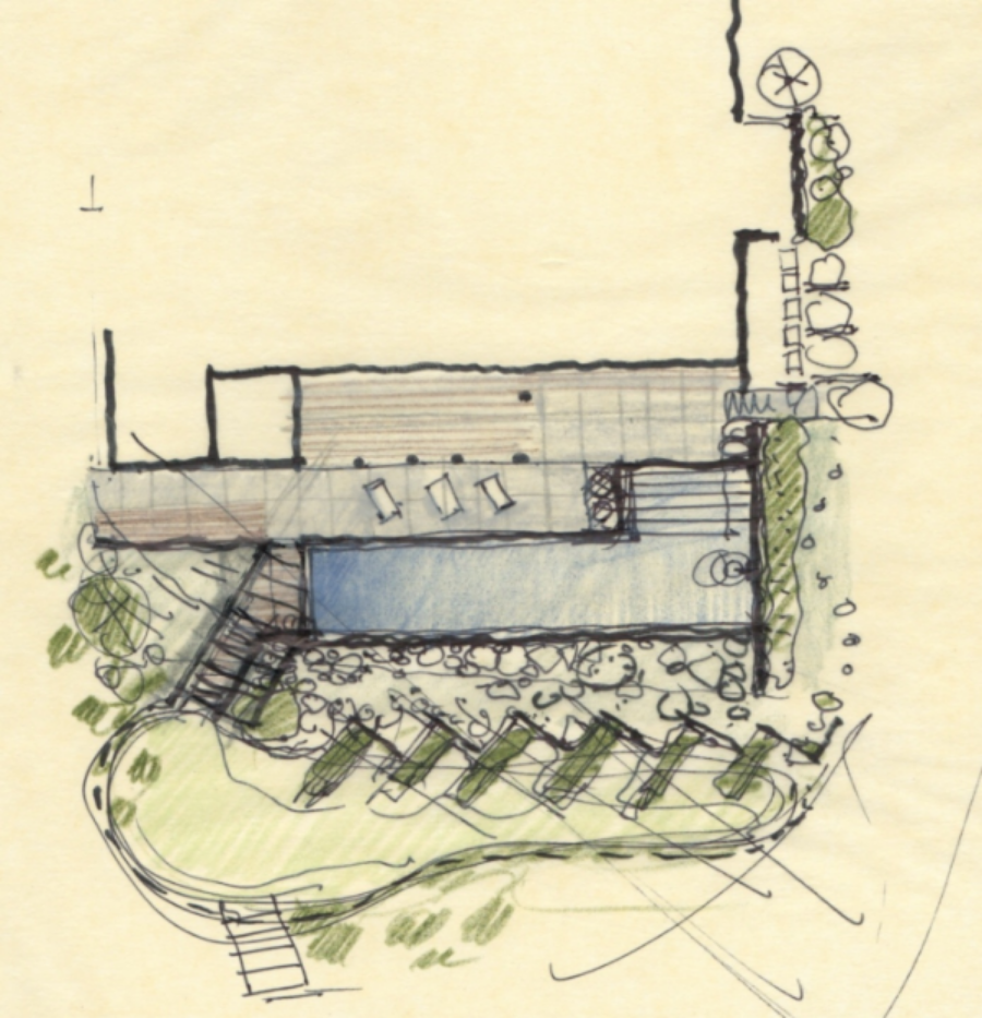 Early Concept sketch for new Landscaping and Pool