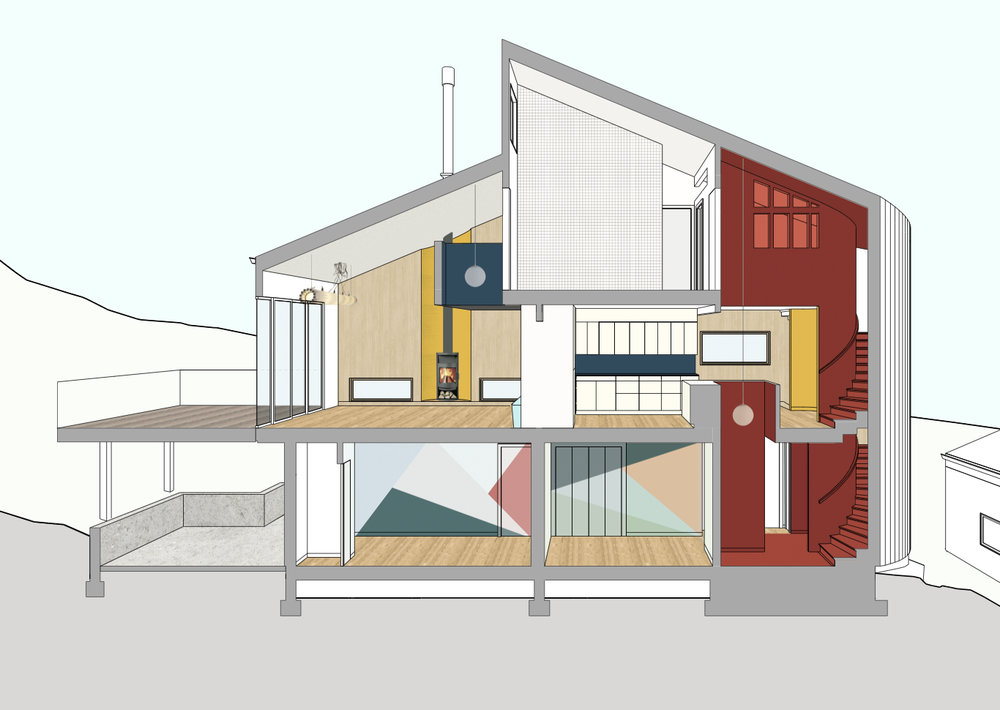 Section rendering showing especially the interconnected spaces, color and material flows through the house.