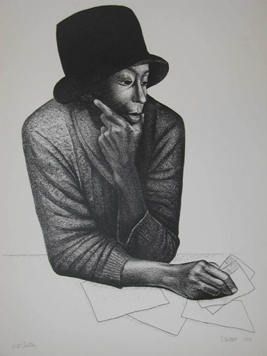 Cartas,         1986. Lithograph. Museum purchase in part funded by the Hickory Alumnae Chapter of the Delta Sigma Theta Sorority, Inc., 2013.9