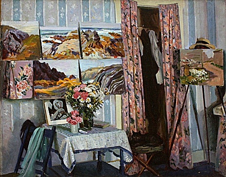 "An Artist's Room in the Country . On the back of the canvas it says ""Painted in 1954 at Cape St. Mary, N.S., Canada by William Starkweather."" The paintings shown in the room are also by him."