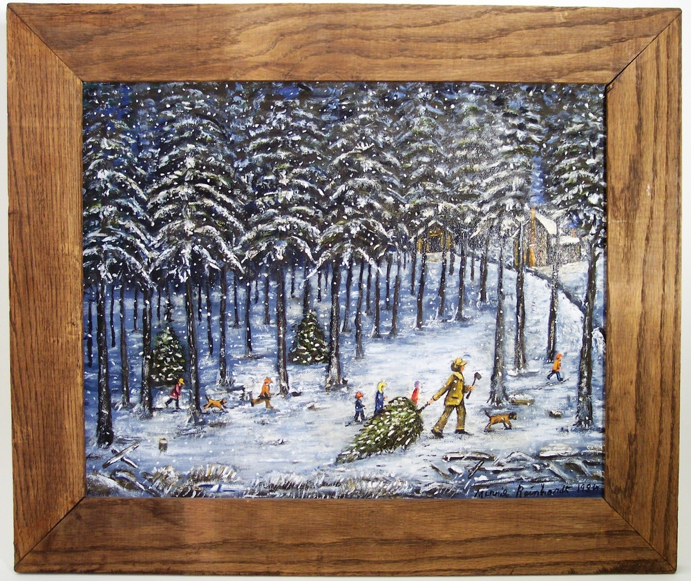 Bringing Home the Christmas Tree. 1984. Oil on canvas board.