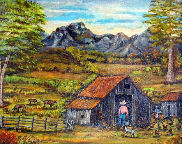 On The Farm . 1977.  Oil on canvas board.