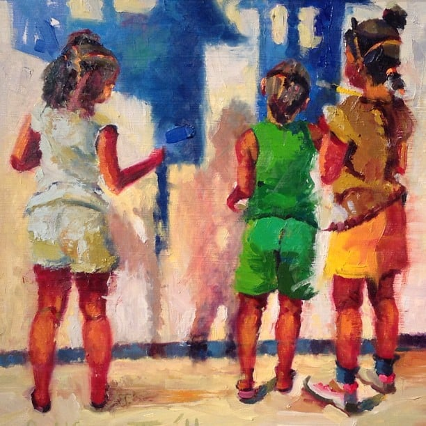 Juie Rattley III.  After the Demonstration . 2011. Oil on panel. HMA purchase.
