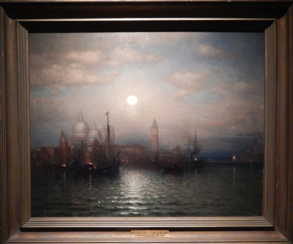 Coleman's Venice Moonrise is unusual for him because it shows a place at night and also a heavily populated city rather than unpeopled nature.