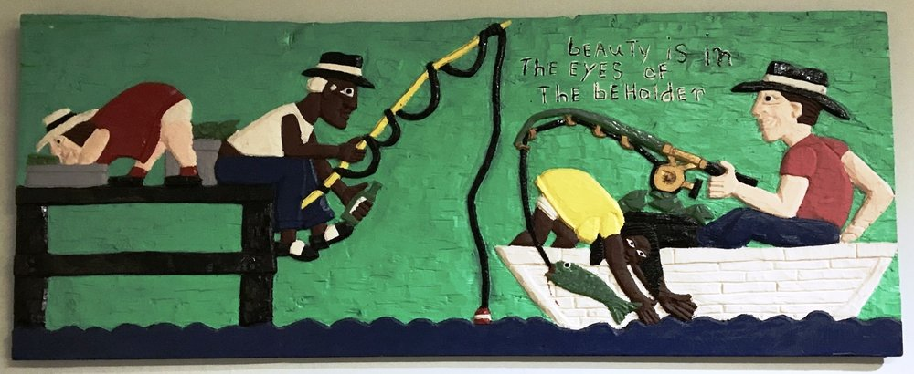 "Herbert Singleton (1945-2007) Beauty is in the Eye of the Beholder, no date acrylic on wood Gift of Albert Keiser, Jr., 2013.10.11 Read at The Art of Poetry at HMA Tracy Fields Eye of the Beholder Inspired by ""Eye of the Beholder"" by Herbert Singleton September 6, 2016  Dark skin light skin Will we ever just look within? Why must we only see just dark skin or light skin? No judgement of those with hearts of tin GOD will deal with them in the end We were all created equal no matter the color of our skin Beauty is light and dark skin She sees no color He knows no color She admires his light skin A beauty she desires like no other She sees him thru GOD's eyes Her eyes behold his light skin Her beauty, he sees as a gift He longs to touch her dark skin He sees her thru GOD's eyes His eyes behold her dark skin He loves to fish She doesn't know how to fish He teaches her it is all in the wrist She prefers to do it with a twist Behold the dark skin Behold the light skin The eye only sees beauty The heart only know beauty GOD created this amazing beauty Made from GOD's image, no specific race All uniquely made All wonderfully made The beautiful human race ===================================================="
