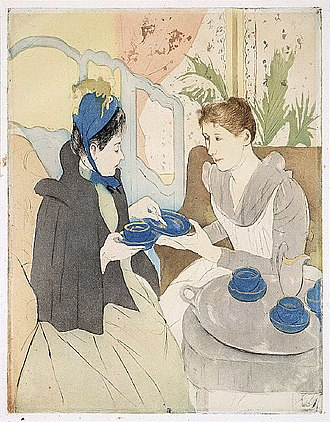 Afternoon Tea Party  c. 1891, by  Mary Cassatt
