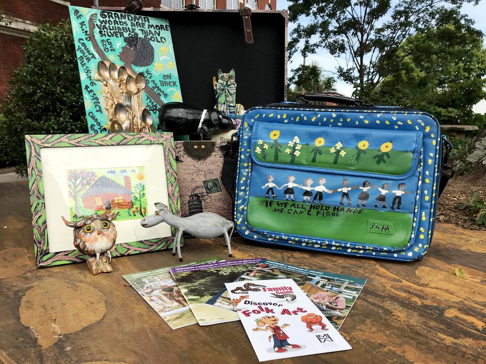 Folk Art Kit   |  Original artwork, lesson plans, children's books, introduction to HMA's folk art (DVD), and artist biographies.