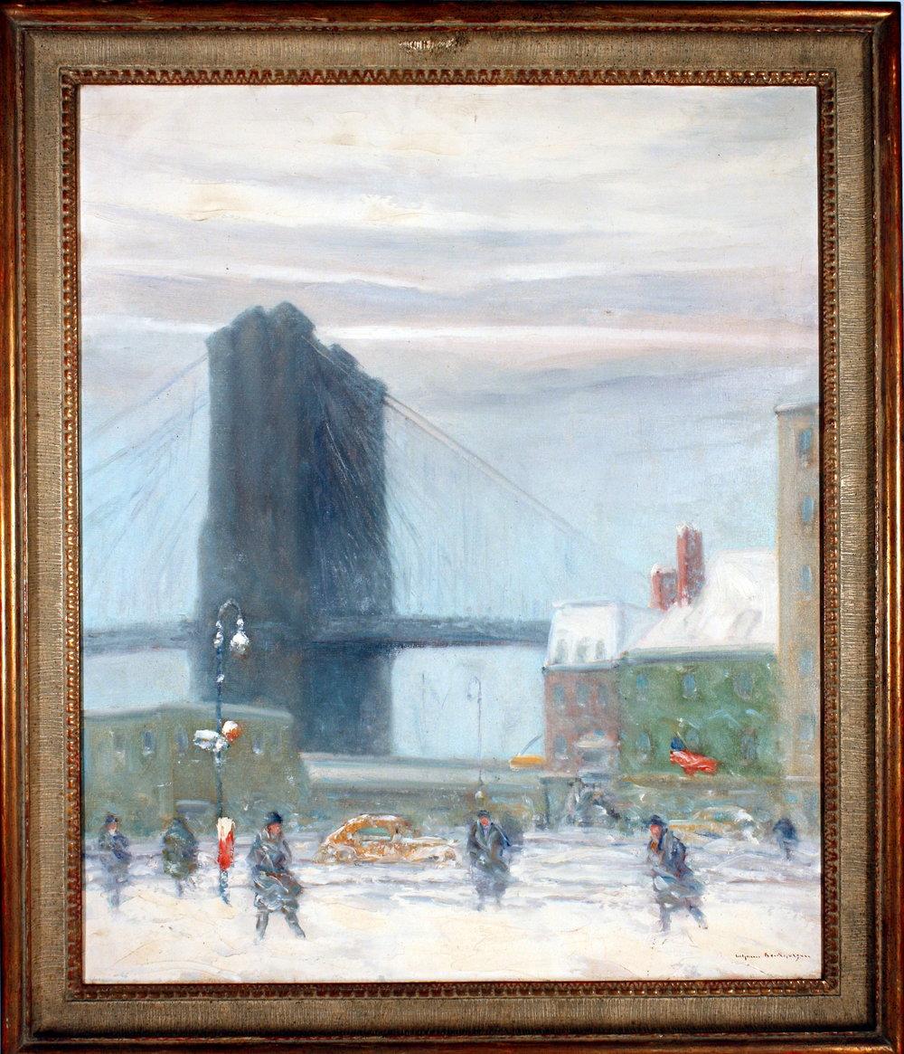 Johann Berthelsen, (1883-1972)  Brooklyn Bridge in Winter r, 20th Century oil Museum purchase, 1944.2.5