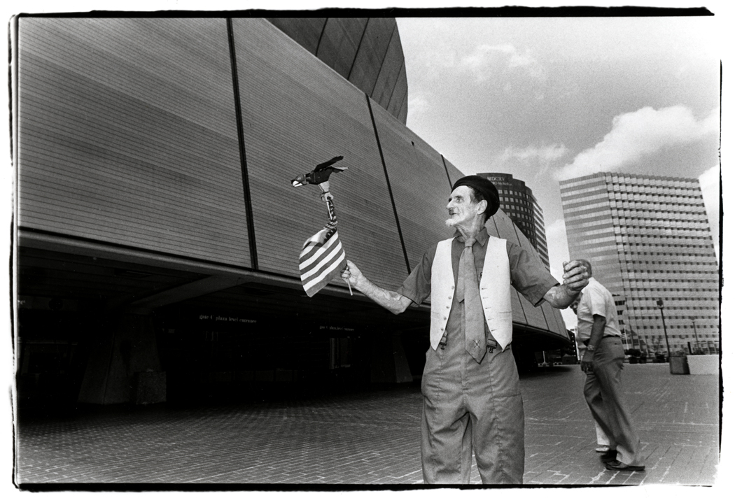 A Political Scene: Frank Ahern, independent write-in candidate for president. Outside the Superdome at the 1988 Republican National Convention.