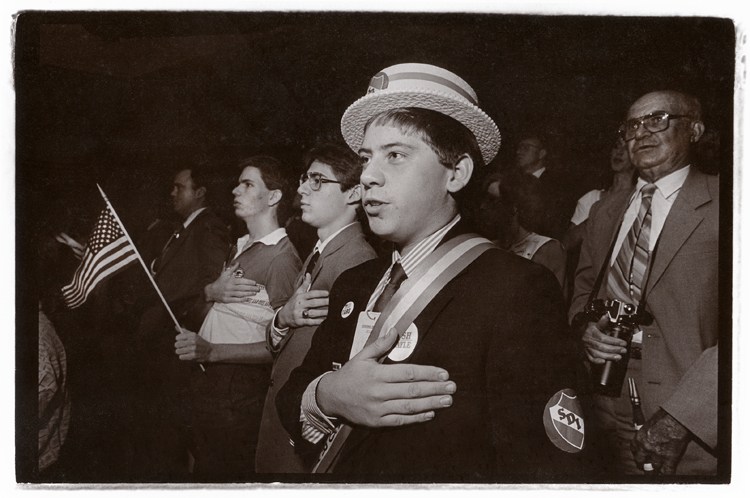 1988 Republican National Convention: Young republicans do the pledge of allegiance. Inside the Superdome in New Orleans.