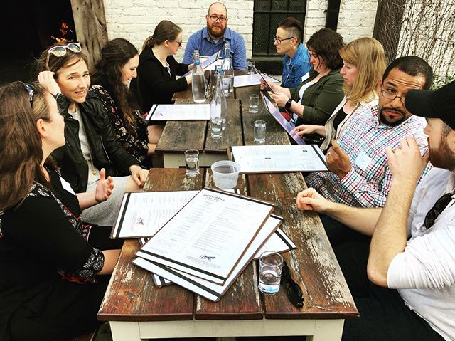 The hungry reviewers after the light factory reviews day one. #ericpickersgill #meggriffin #laurengreenfield #brycelankard #aspenhochhalter