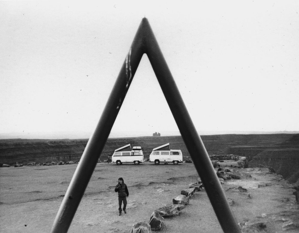Pokey in the American southwest. A two VW caravan near Monument Valley.