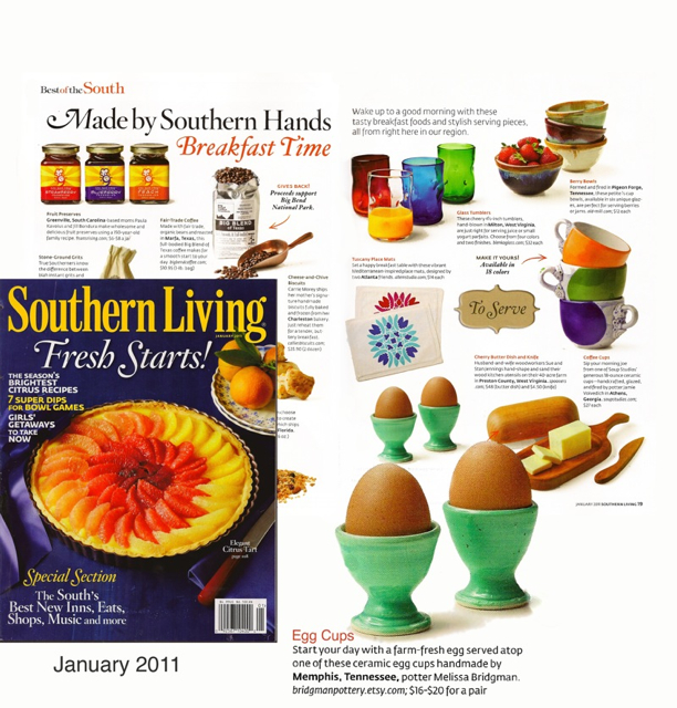 my bird's egg egg cups in Southern Living! January 2011