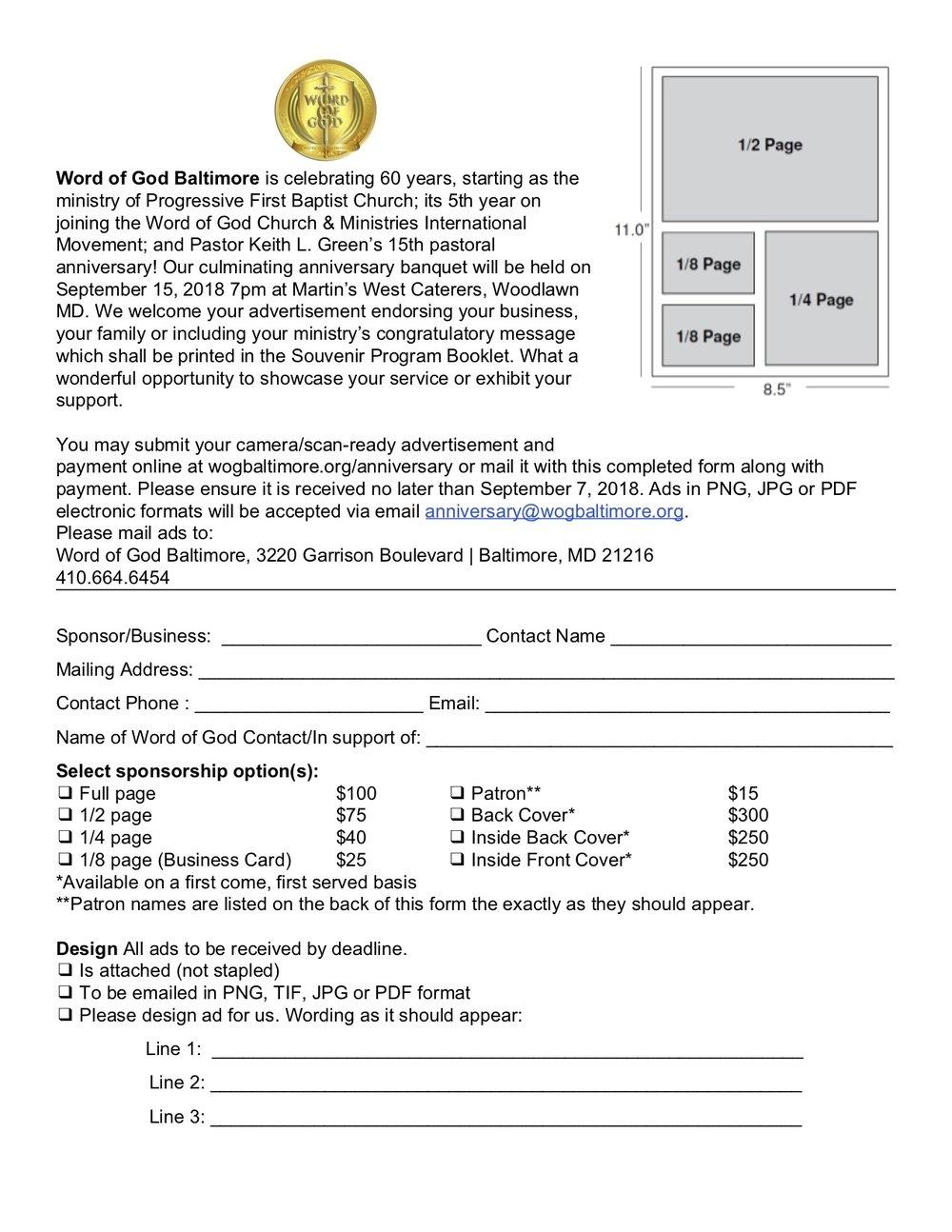 Order online @  wogbaltimore.org/anniversarystore/anniversary-journal-ad