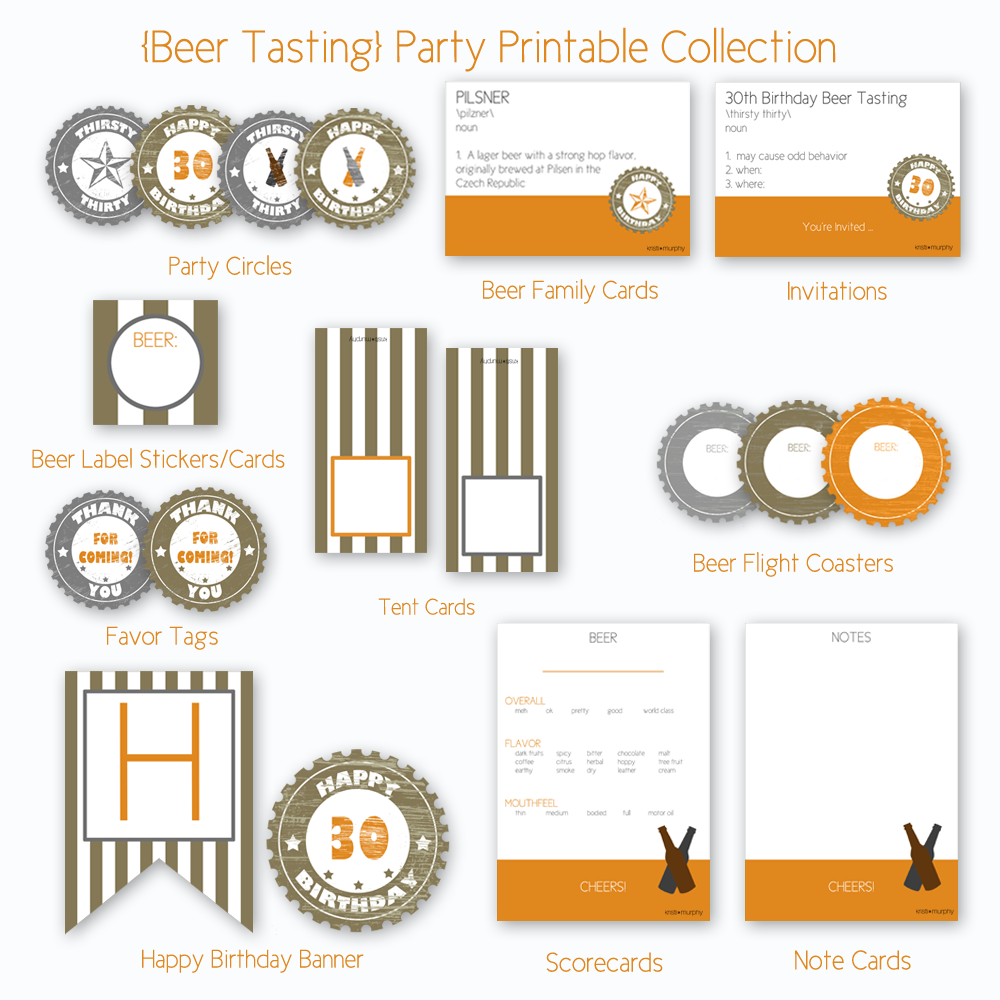 Thirsty Thirty 30th Birthday Beer Tasting Party Printables Kristi Murphy