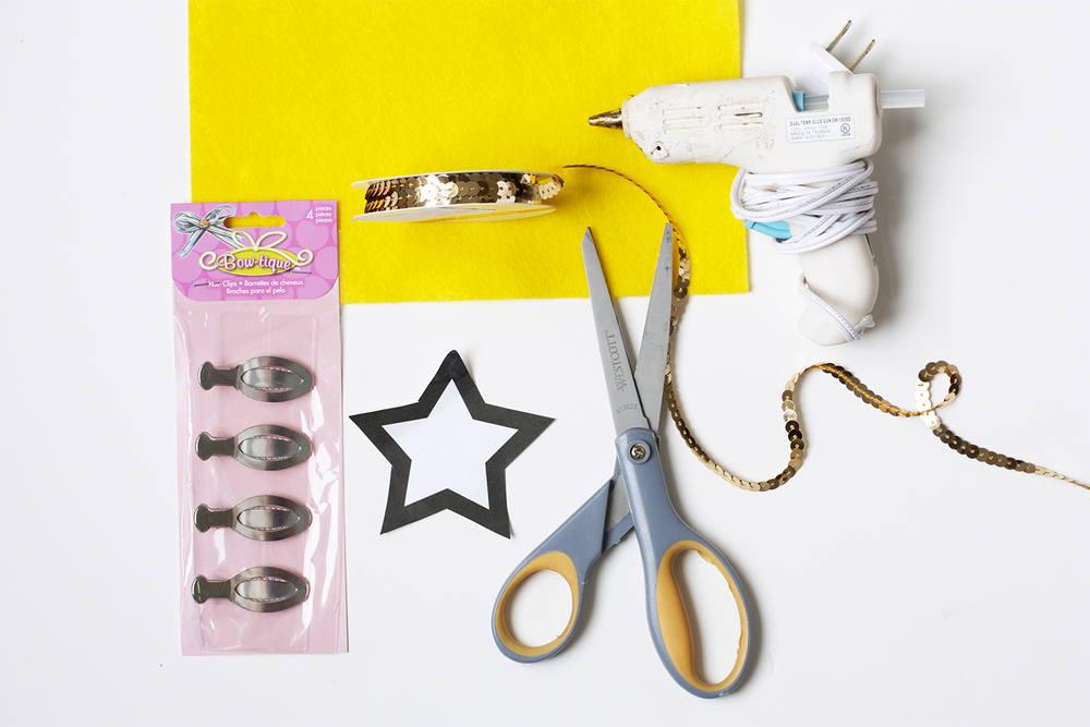 DIY Sequin Barrette Supplies
