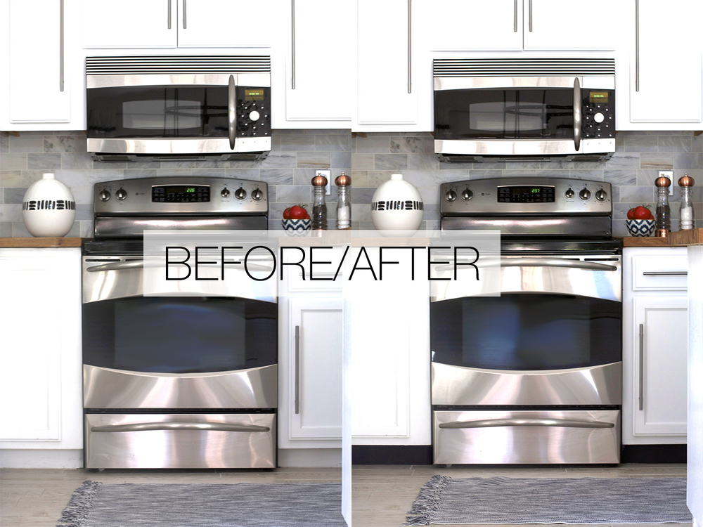 Before And After Image Of Black Toe Kick Remodel In Kitchen