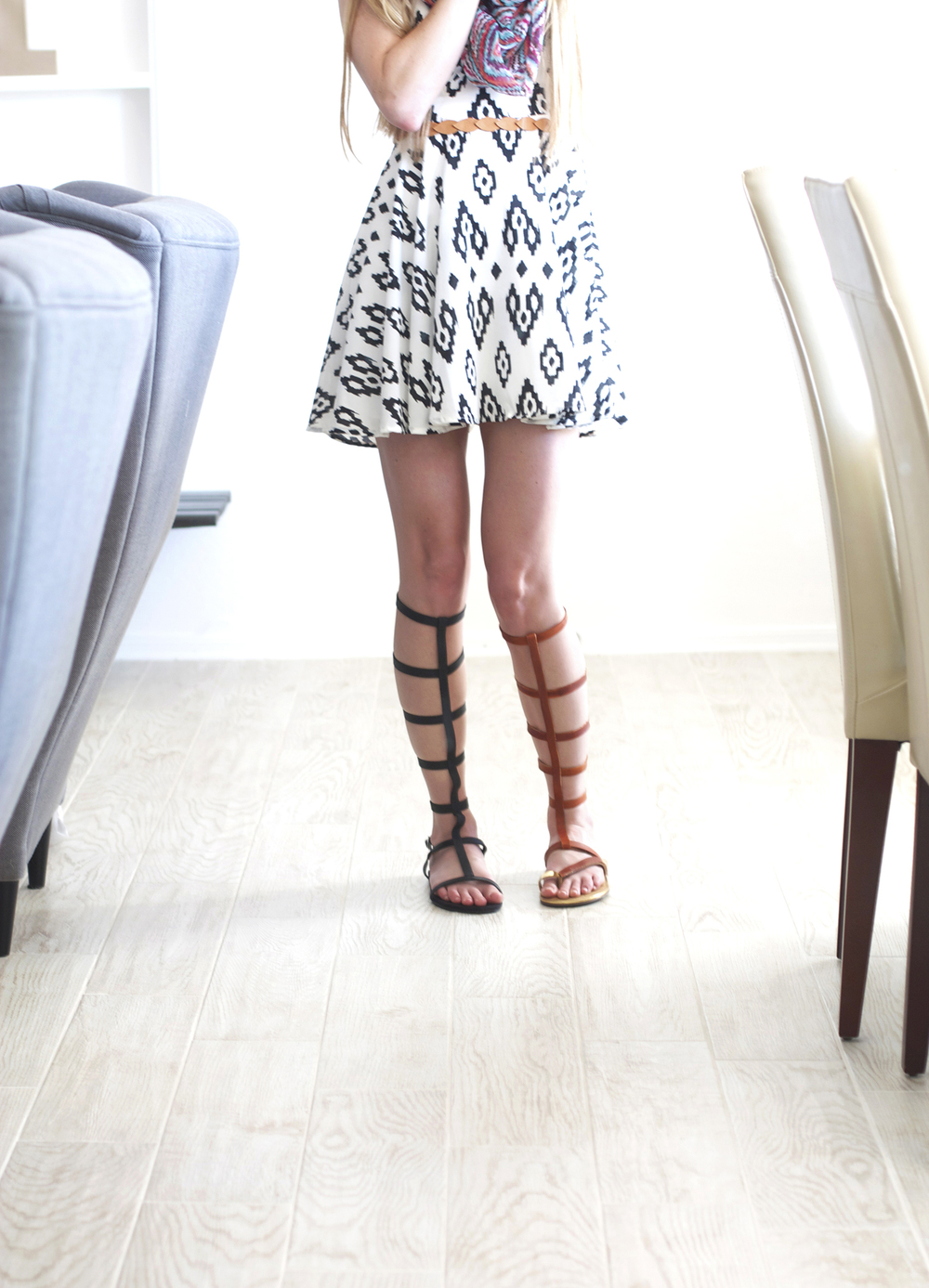 DIY Black or Tan Gladiator Sandals