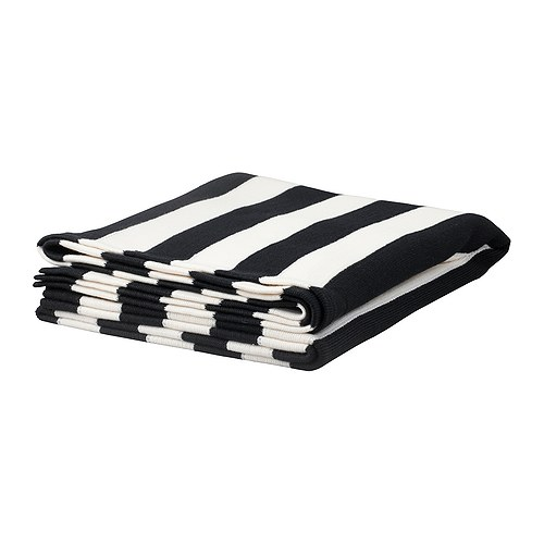 Black and white striped IKEA blanket