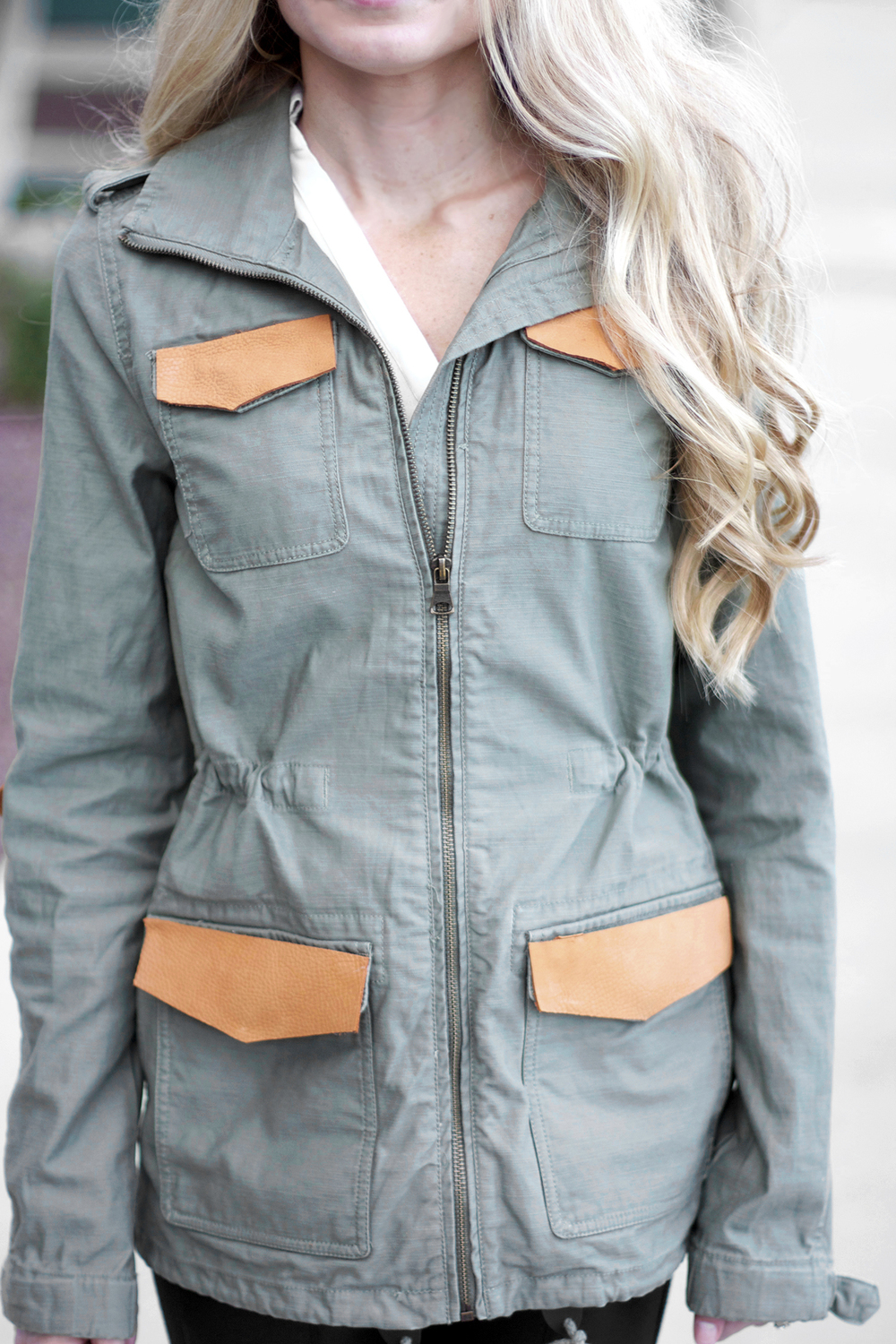 military jacket with leather
