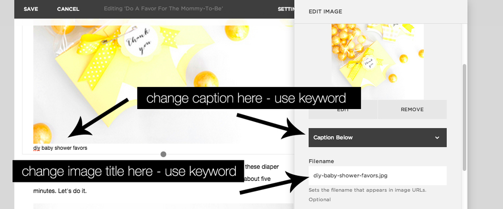 changing image titles and captions in Squarespace