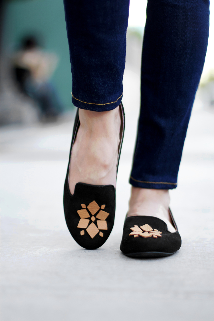 Leather Embellished Loafers