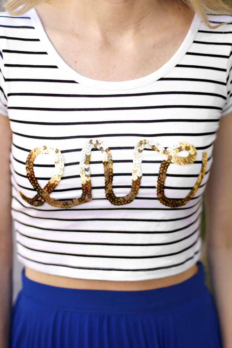 No Sew Sequin Graphic Crop
