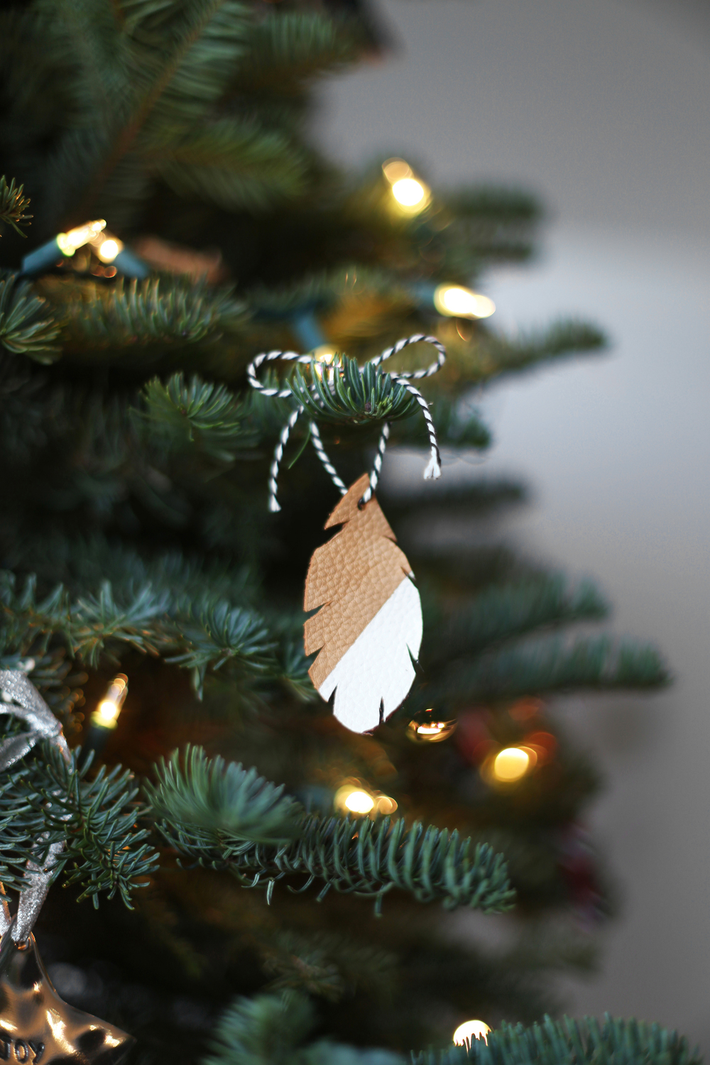 DIY Leather Feather Ornament