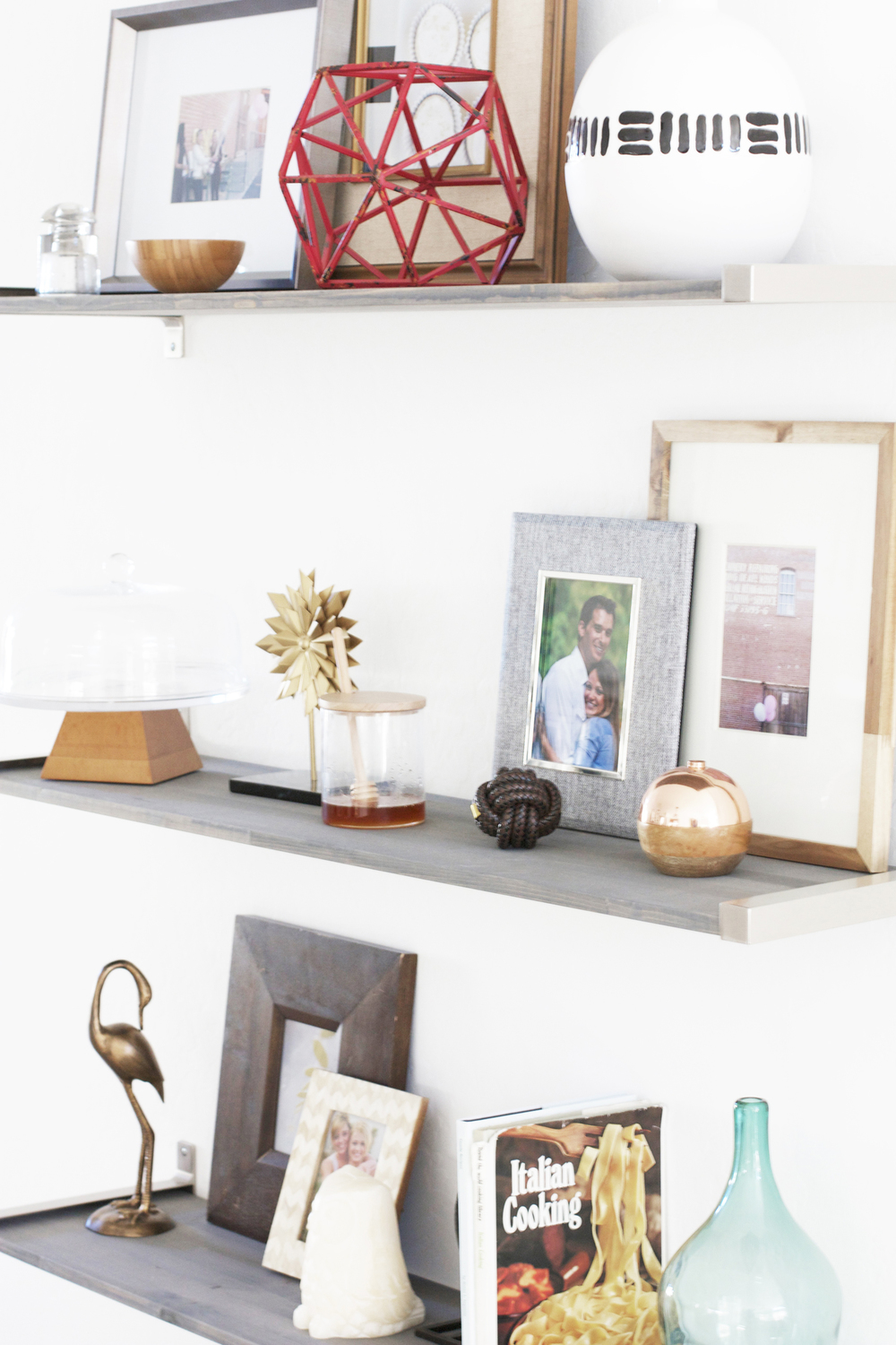 DIY gray shelves