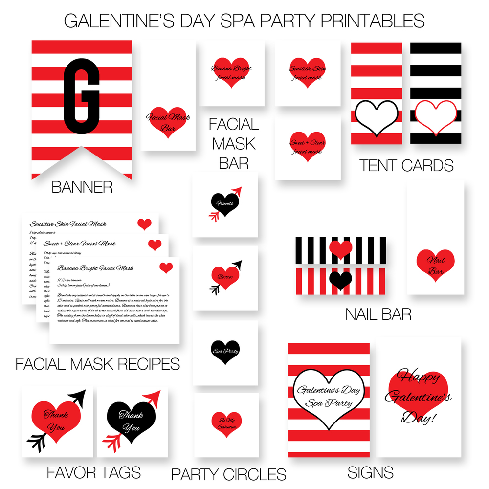 Galentine's Day party printables
