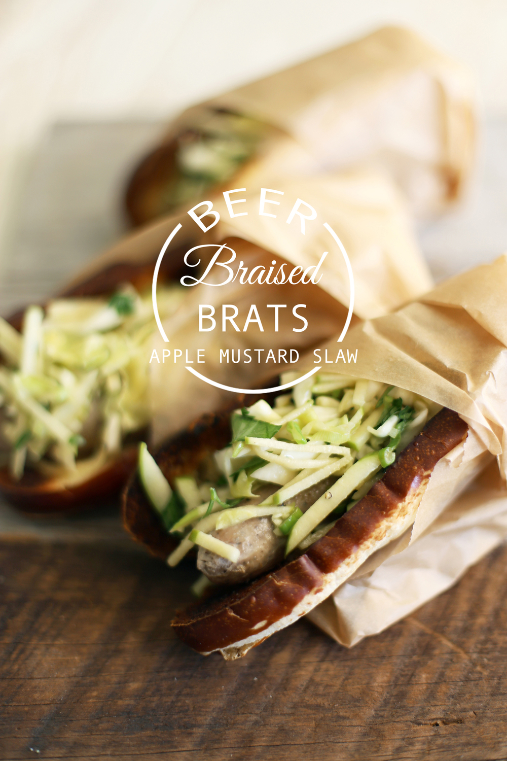 beer braised brats with apple mustard slaw