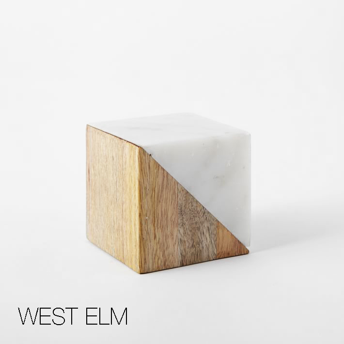 West Elm marble and wood blocks