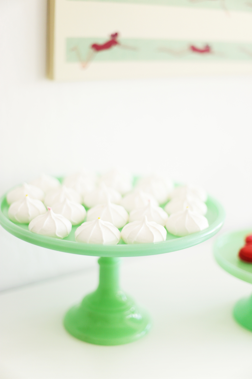 meringues on jade cake stand pink and mint decorating ideas