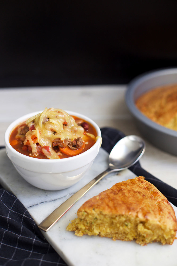 Clean out your fridge smoky chili with cheesy jalapeño cornbread