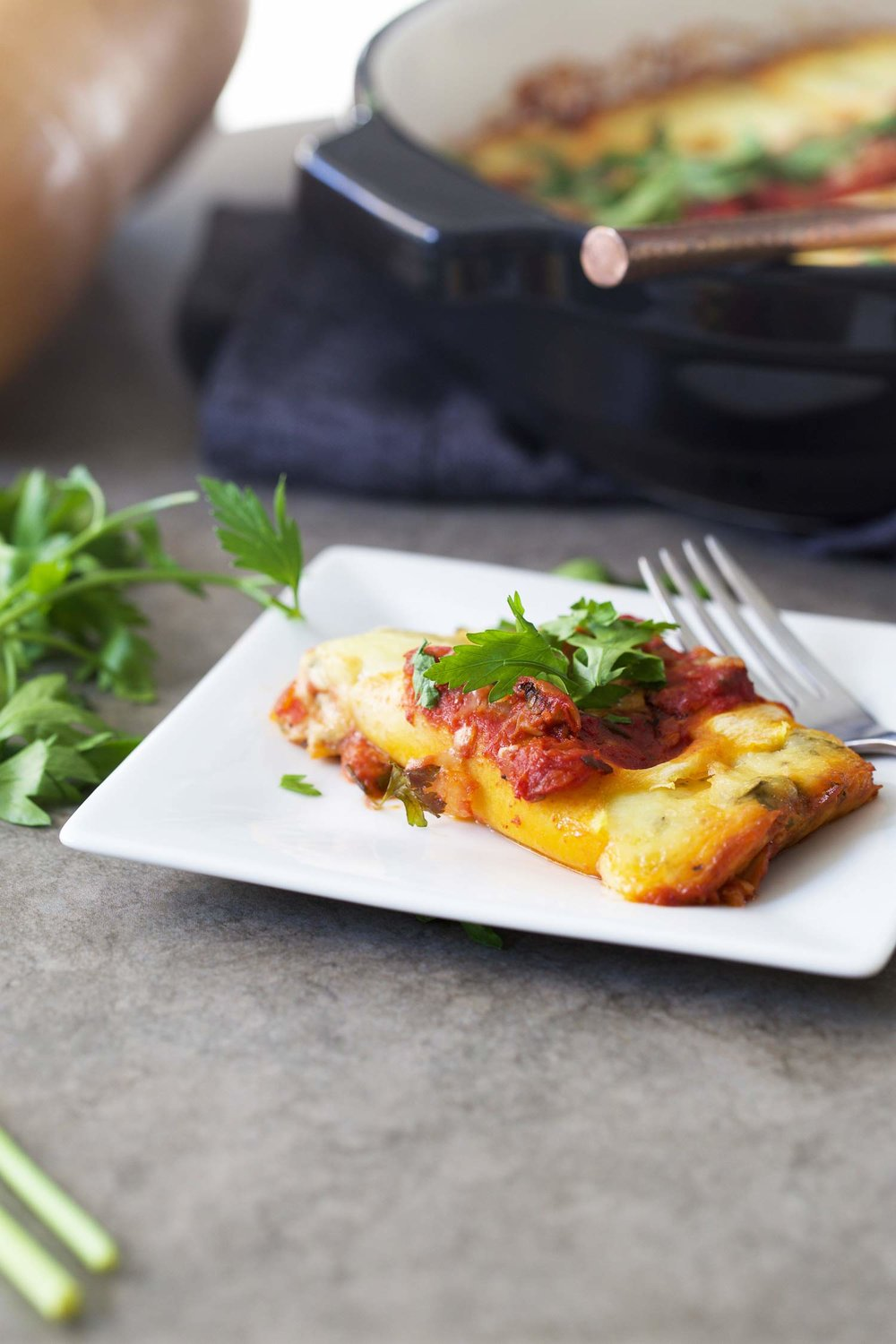 butternut squash manicotti on a plate