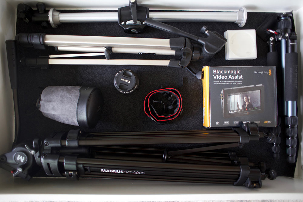 camera equipment organized in a drawer