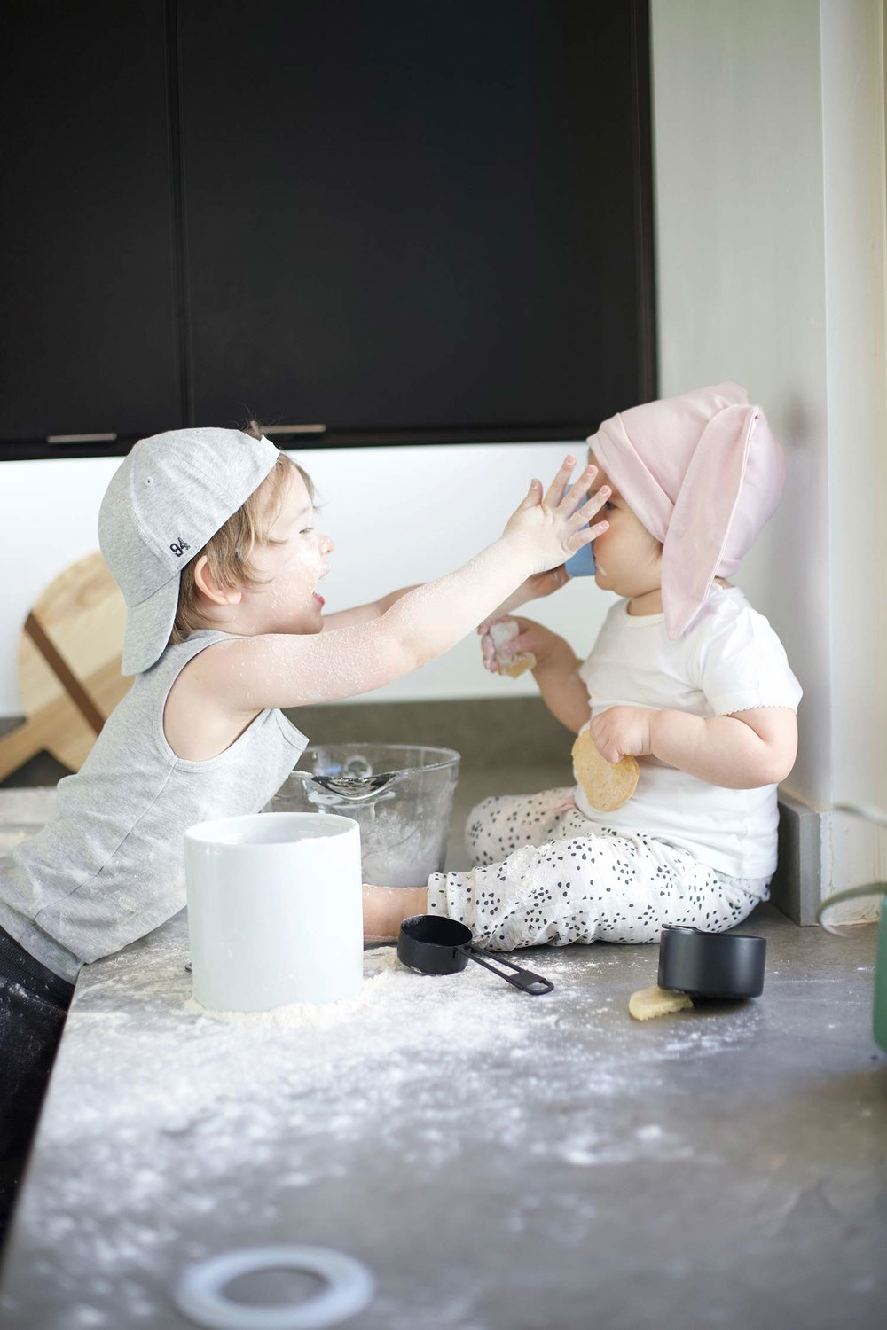 boy and girl baking
