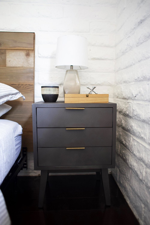 DIY reclaimed wood headboard gray nightstand