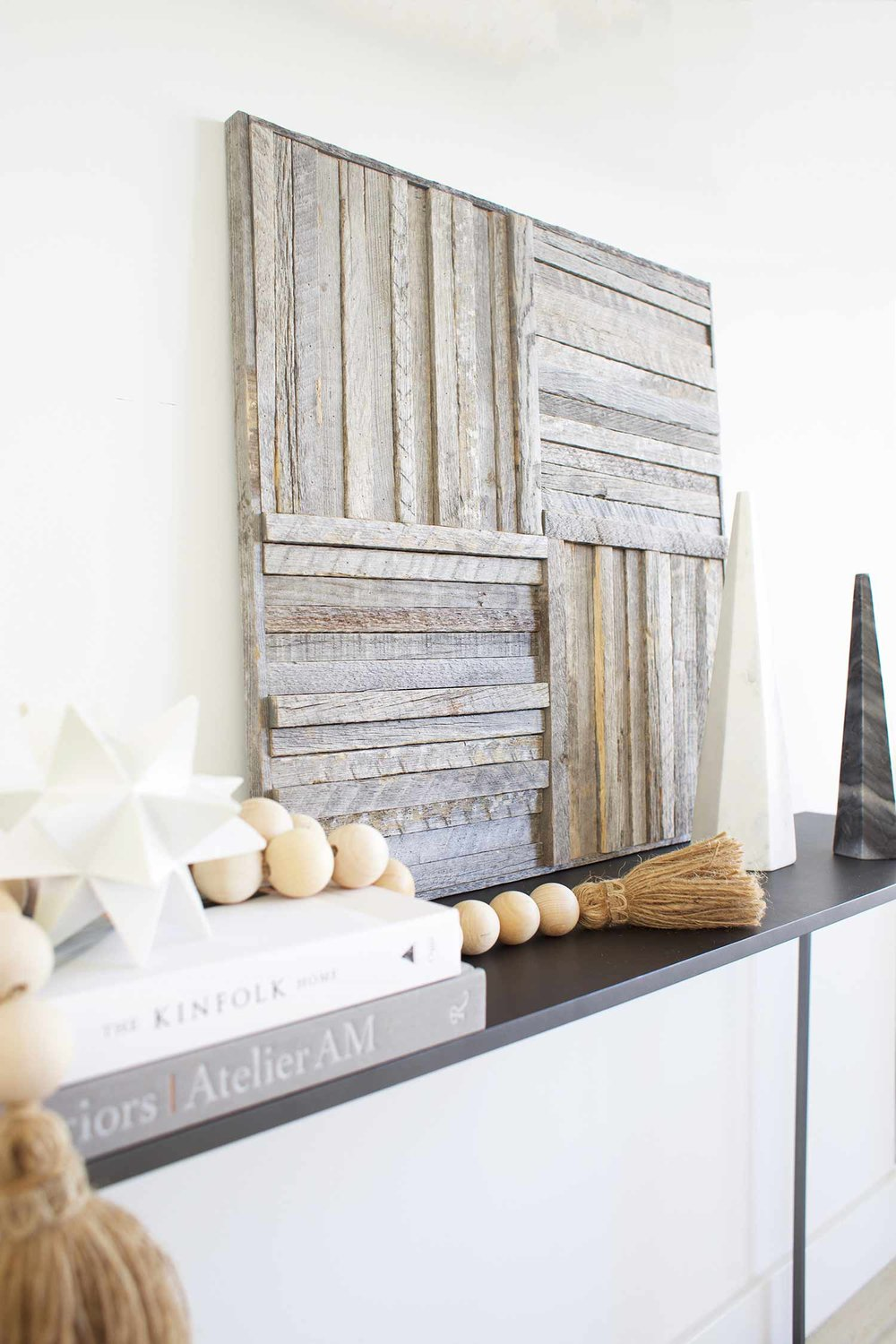 Stikwood wall art panel on credenza close up